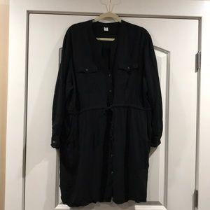 Black button down utility dress